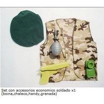 Disfraz De Soldado Camuflado Chaleco Boina Granada Trasmisor
