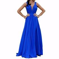Vestido De Noche Azul Largo Dama Fiesta Mujer Elegante