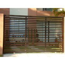 Portão Alumínio Garagem Deslizante Bronze Régua Horizontal