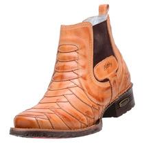 Bota Masculina Sapato Alcalay Country Texana Escama Natural