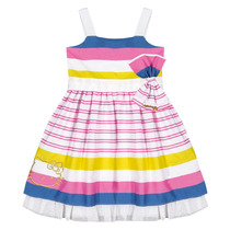 Vestido Infantil Em Popeline Acetinado Hello Kitty