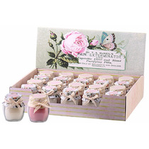 Caixa 20 Velas Mini Jarros De Vidro Decorativas - Água Rosas