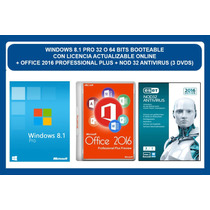 Windows 8.1 Pro + Office 2016 + Antivirus 2016 (3 Dvds)
