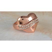 Anillo Compromiso Corazón Cristal Swa Y Circón Baño Oro 18k