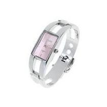Relógio De Pulso Tipo Bracelete Daily Rosa Cromado Metalico