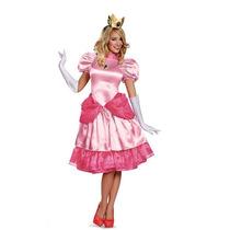 Disfraz Vestido Princesa Peach Mario Bros Mujer Version Lujo
