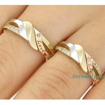 Par/ Aliança Ouro Amarelo Branco E Rosê 18k/750 E Diamantes.