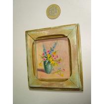 Antigua Pintura Al Óleo Miniatura Flores Amarillas Y Azules