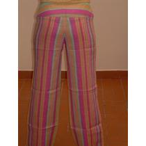 Pantalon En Lino A Rayas Bota Recta Y Tiro Alto