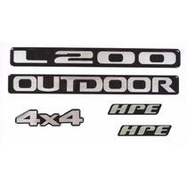 Kit Emblemas Adesivos Resinados L200 Outdoor 4x4 Hpe