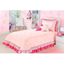 Kit Bailarina Estrelinhas Rosa Pink Colcha Cobre Leito 5 Pçs