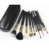 Kit 12 Pinceis Profissionais Para Maquiagem Com Estojo Preto