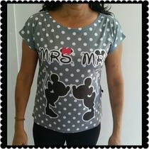 Camiseta Tshirt Com Manguinha Casal Mickey E Minnie De Poa