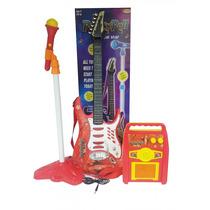 Guitarra Electrica+microfono+amplificador Mp3 Infantil Faydi