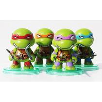 Kit Tartarugas Ninja Action Figure Coleção 4 Bonecos + Armas