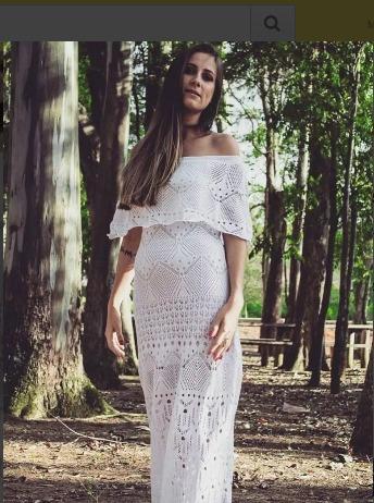 Vestido branco longo croche