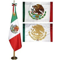 Bandera De Mexico Reglamentaria Bordada Colores.