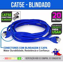 Cabo De Rede Ethernet 20 Metros Internet Plug Blindado Cat5e