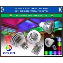Bombilla Deled Rgb 3w Mr16 12v Multicolor Control Remoto