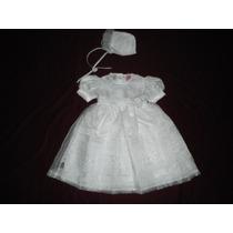 Nuevo Vestido Blanco Con Gorrito Niñas 2 - 3 Años En Organza
