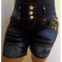 Bermuda Jeans C/ Lycra 3 Botões Cós Médio Estilo Pit Bull
