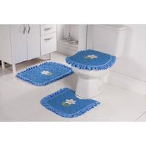 Jogo De Piso De Banheiro Bordado E Atoalhado 3 Peças Azul