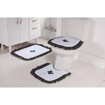 Jogo De Piso De Banheiro 3 Peças Atoalhado Branco E Preto