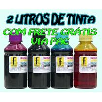 2 Litros Tinta Recarga Cartucho Impressora Hp - Frete Grátis