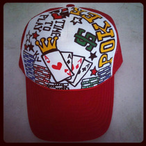 Gorra Poker As Cartas Fichas Personalizada Mano Colores