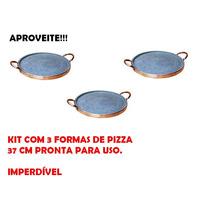 Kit Com 3 Formas De Pizza 37 Cm Pedra Sabão Curadas