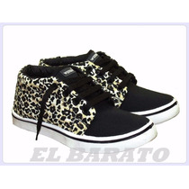 Zapatillas Botitas De Lona Animal Print Wembly