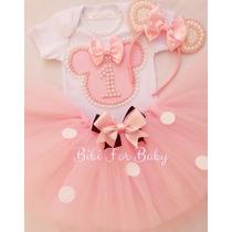 Fantasia Minnie Mouse Rosa Menina Luxo Com Saia Tutu E Tiara