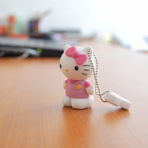 Pen Drive Usb 2.0 Emborrachado Hello Kitty 4 Gb Na Cor Rosa