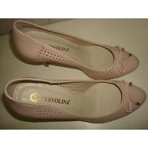 Lindo Sapato De Couro Salto Alto - Marca Tervolina - Nº 35.