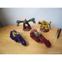Cuatro Juguetes Tortugas Ninja Figura Y Motos Mcdonalds Tn13