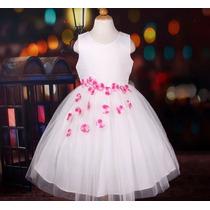 Vestido Infantil Festa Daminha Florista Flores Na Saia