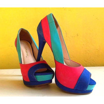 Sapato Salto Alto Colorido Peep Toe Viamarte