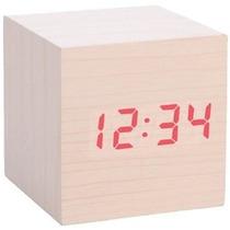 Reloj Con Alarma En Forma De Cubo De Madera Luz De Led