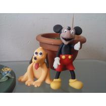 Adorno Para Torta De Mickey Y Pluto Sobre Base De Madera,