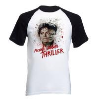 Camiseta Adulto Raglan Michael Jackson Thriller Pop 02
