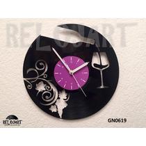 Original Reloj De Pared En Disco De Vinil - Uvas Y Vino