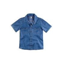 Camisa Jeans Infantil Masculina Hering Kids Manga Curta