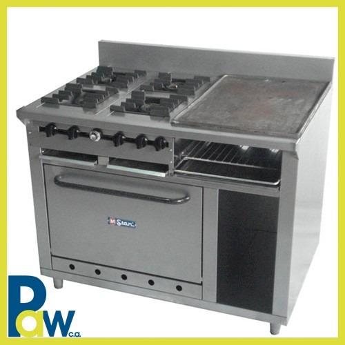 Nice Cocina Industrial 4 Hornillas Plancha Gratinador Horno Mstar   Bs.  4.272.240,00 En Mercado Libre