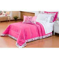 Kit Cobre Leito Rosa Pink 04 Peças Quarto Menina Infantil