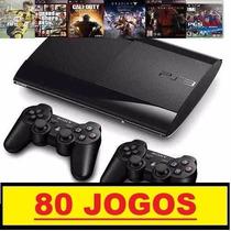 Ps3 Super Slim 500 Gb+ 80 Jogos+2 Controles+ Pes17 + Fifa17