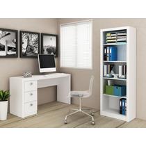 Conjunto Office C/ Mesa Reta 3 Gvts E Estante Branco Pequeno