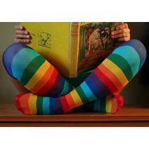 Media Rayada Multicolor Rainbow Emo Arcoiris Lolita Hallowen