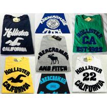 Camiseta Bordada Hollister Abercrombie Masculina