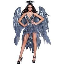 Disfraz Mujer Angel Negro Obscuro Vestido Halloween