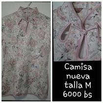 Camisa/blusa De Mujer (corte Chino) Talla M